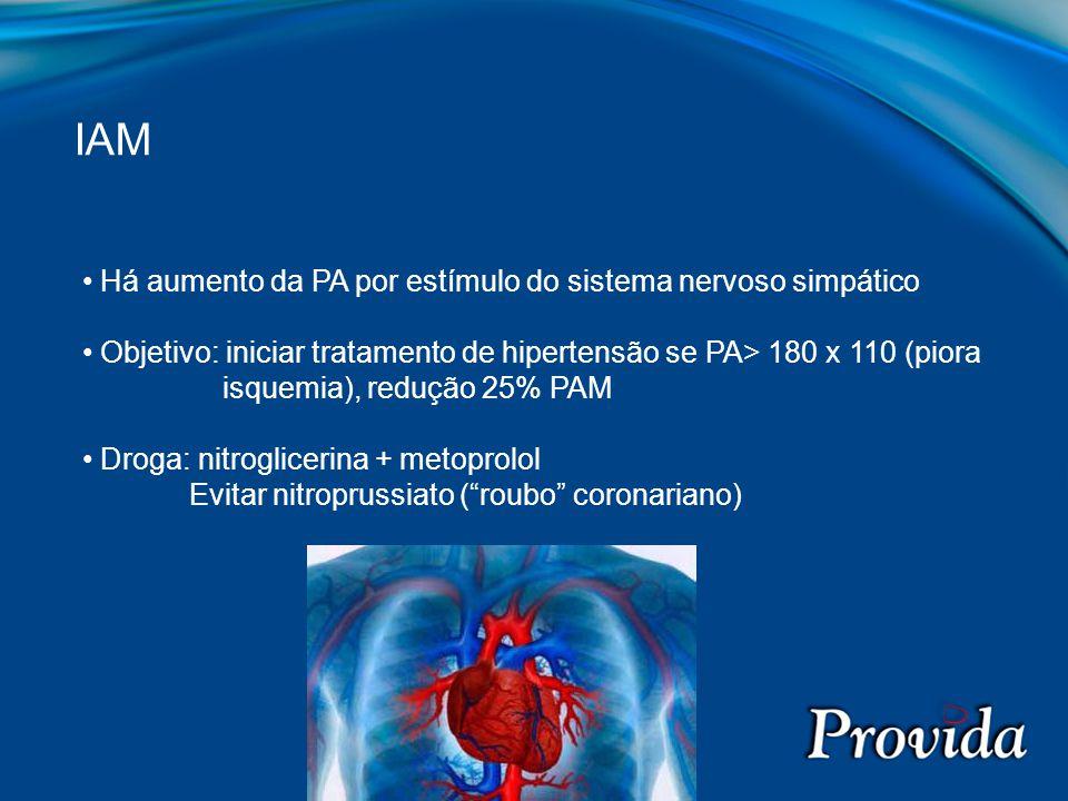Há aumento da PA por estímulo do sistema nervoso simpático Objetivo: iniciar tratamento de hipertensão se PA> 180 x 110 (piora isquemia), redução 25%