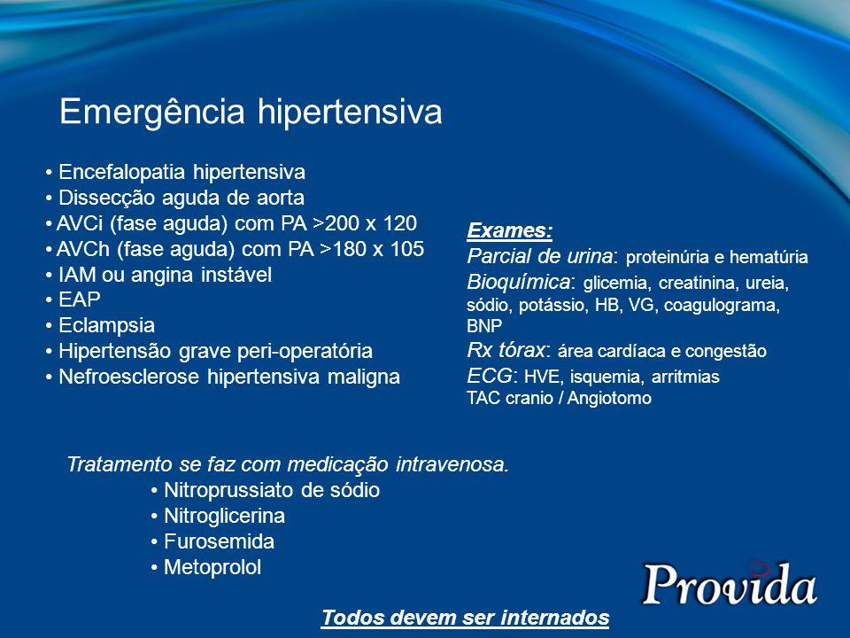 Encefalopatia hipertensiva Dissecção aguda de aorta AVCi (fase aguda) com PA >200 x 120 AVCh (fase aguda) com PA >180 x 105 IAM ou angina instável EAP