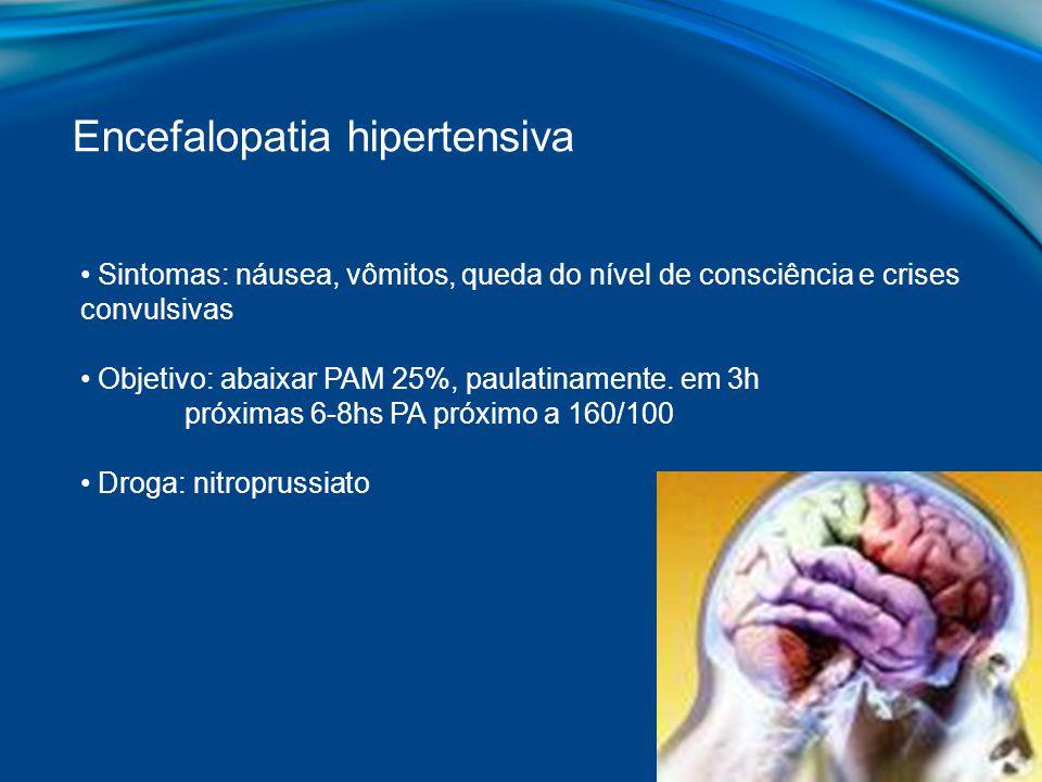Sintomas: náusea, vômitos, queda do nível de consciência e crises convulsivas Objetivo: abaixar PAM 25%, paulatinamente. em 3h próximas 6-8hs PA próxi