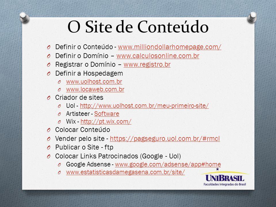 O Site de Conteúdo O Definir o Conteúdo - www.milliondollarhomepage.com/www.milliondollarhomepage.com/ O Definir o Domínio – www.calculosonline.com.br