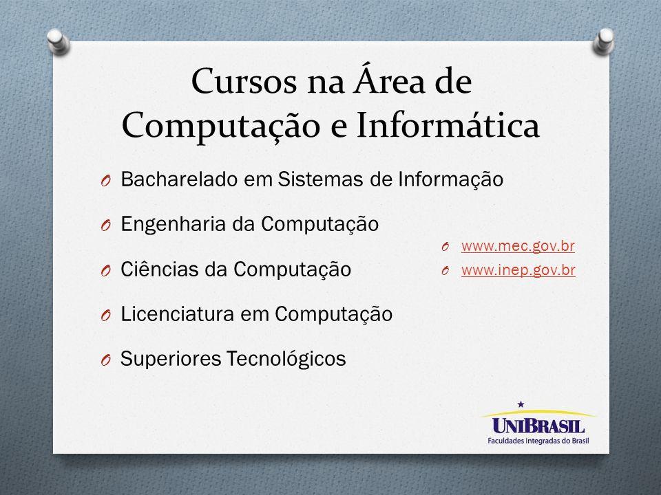 Cursos na Área de Computação e Informática O Bacharelado em Sistemas de Informação O Engenharia da Computação O Ciências da Computação O Licenciatura