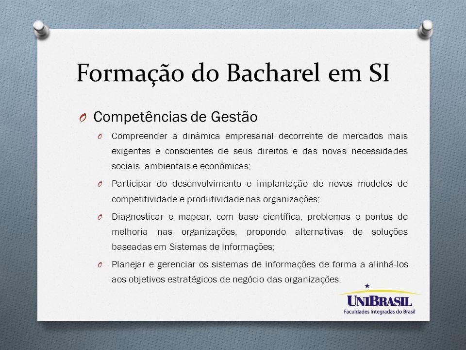 Formação do Bacharel em SI O Competências de Gestão O Compreender a dinâmica empresarial decorrente de mercados mais exigentes e conscientes de seus d