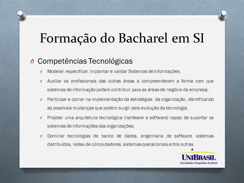 Formação do Bacharel em SI O Competências Tecnológicas O Modelar, especificar, implantar e validar Sistemas de Informações; O Auxiliar os profissionai