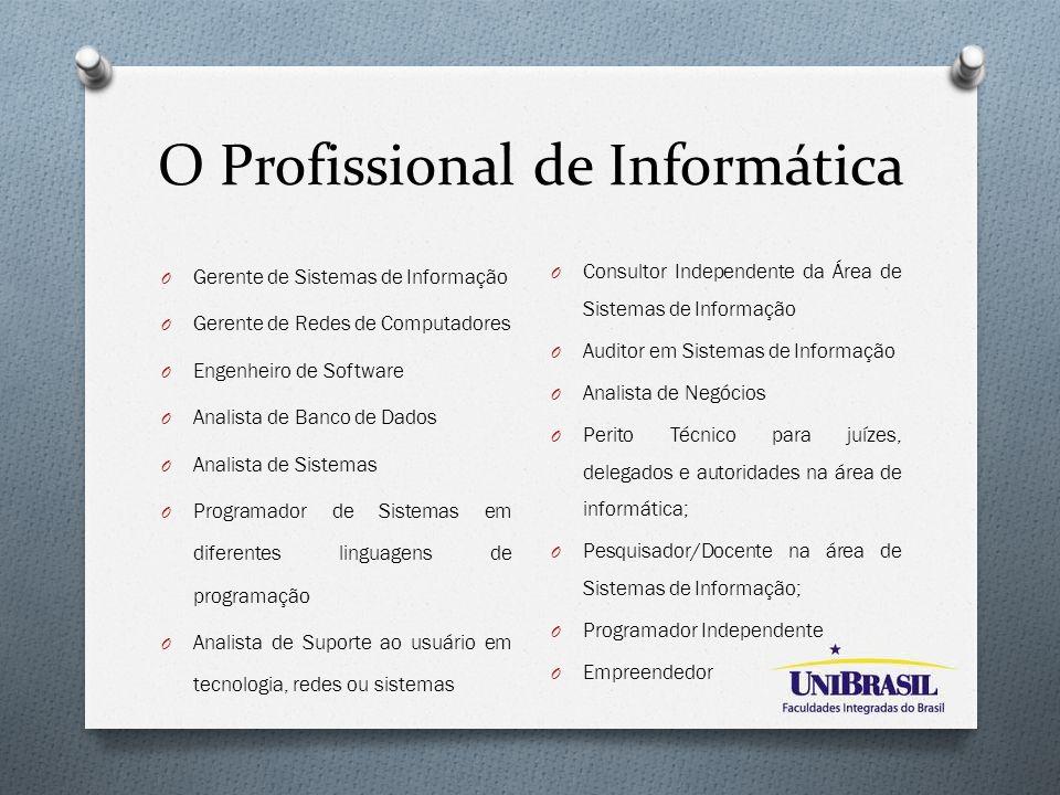 O Profissional de Informática O Gerente de Sistemas de Informação O Gerente de Redes de Computadores O Engenheiro de Software O Analista de Banco de D