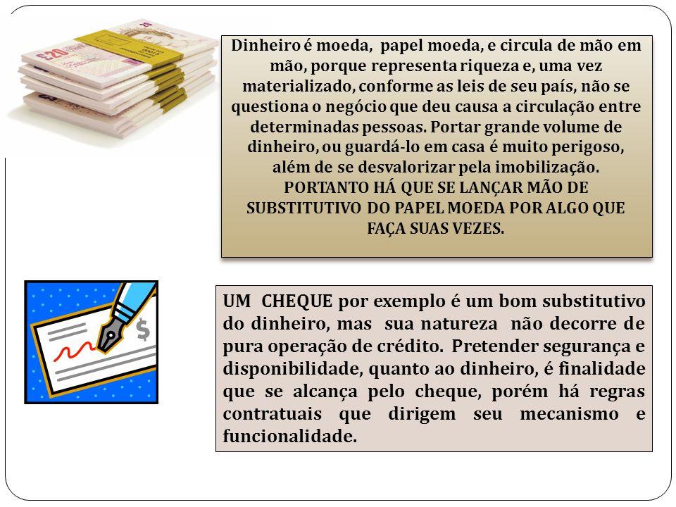 Dinheiro é moeda, papel moeda, e circula de mão em mão, porque representa riqueza e, uma vez materializado, conforme as leis de seu país, não se quest