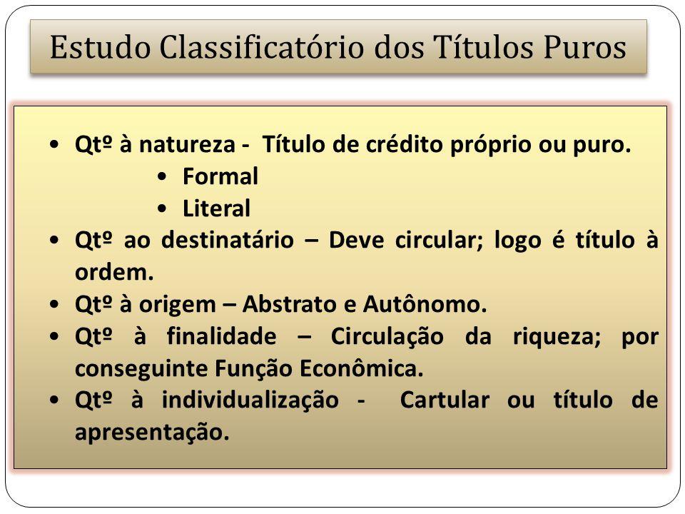 Estudo Classificatório dos Títulos Puros Qtº à natureza - Título de crédito próprio ou puro. Formal Literal Qtº ao destinatário – Deve circular; logo