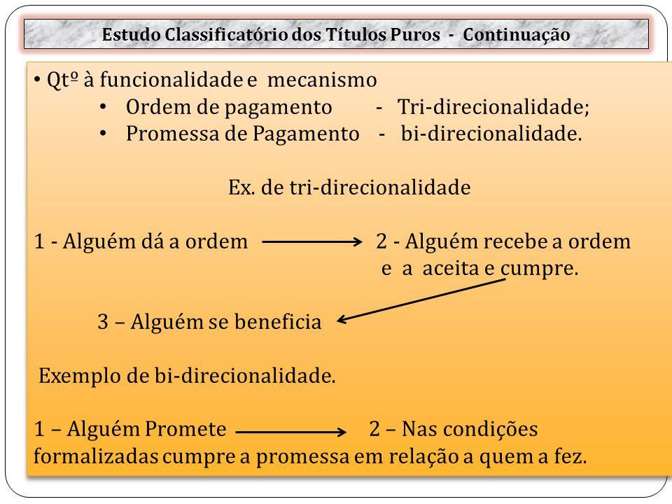 Estudo Classificatório dos Títulos Puros - Continuação Qtº à funcionalidade e mecanismo Ordem de pagamento - Tri-direcionalidade; Promessa de Pagamento - bi-direcionalidade.