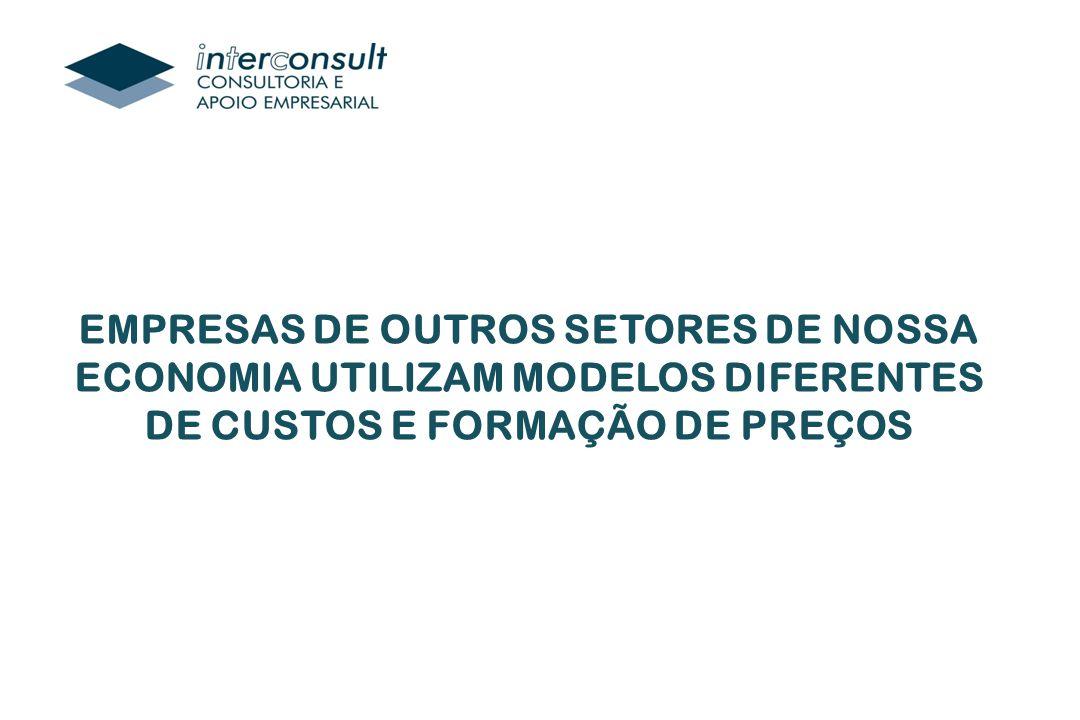 EMPRESAS DE OUTROS SETORES DE NOSSA ECONOMIA UTILIZAM MODELOS DIFERENTES DE CUSTOS E FORMAÇÃO DE PREÇOS