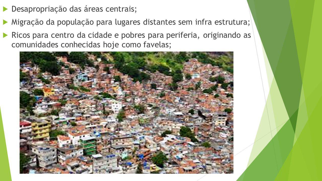  Desapropriação das áreas centrais;  Migração da população para lugares distantes sem infra estrutura;  Ricos para centro da cidade e pobres para periferia, originando as comunidades conhecidas hoje como favelas;