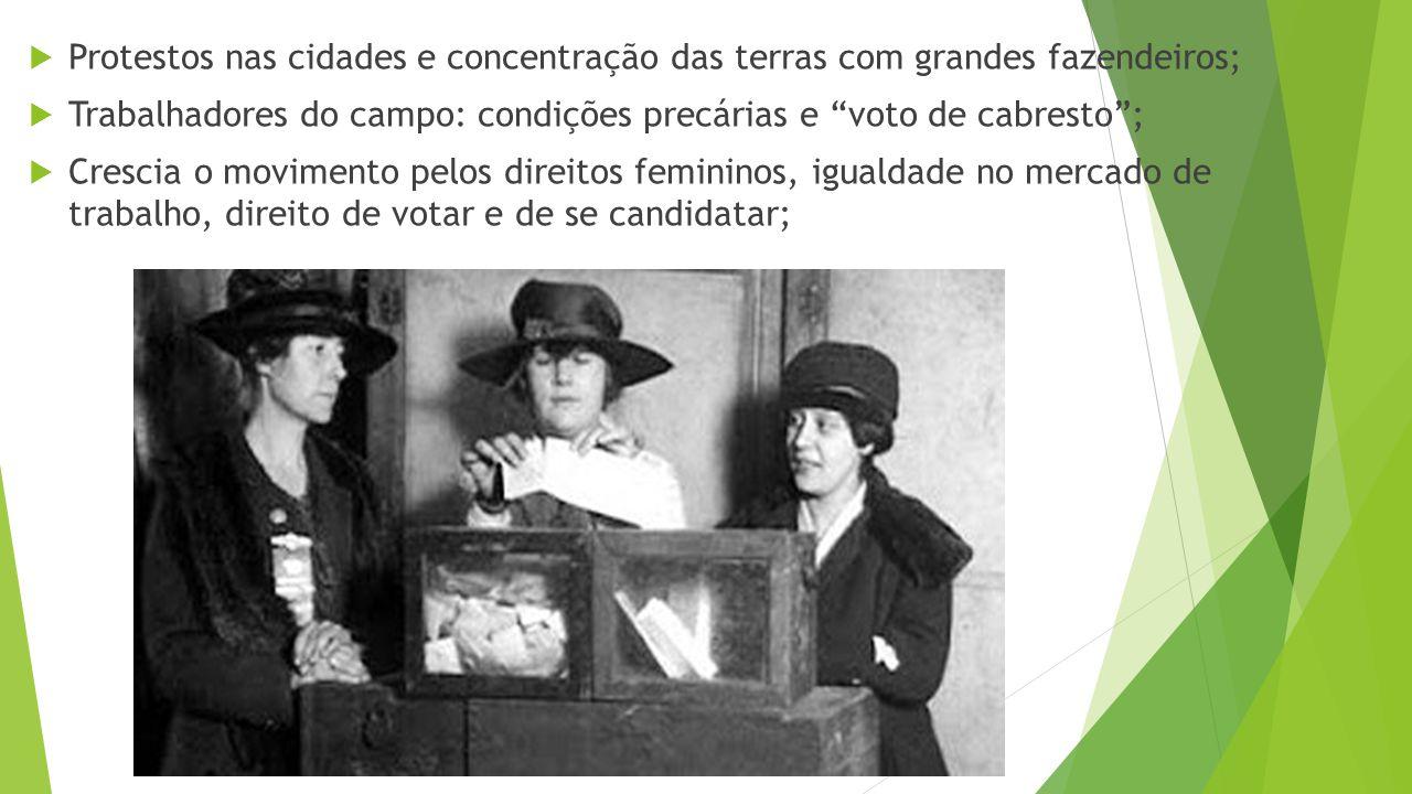  Protestos nas cidades e concentração das terras com grandes fazendeiros;  Trabalhadores do campo: condições precárias e voto de cabresto ;  Crescia o movimento pelos direitos femininos, igualdade no mercado de trabalho, direito de votar e de se candidatar;