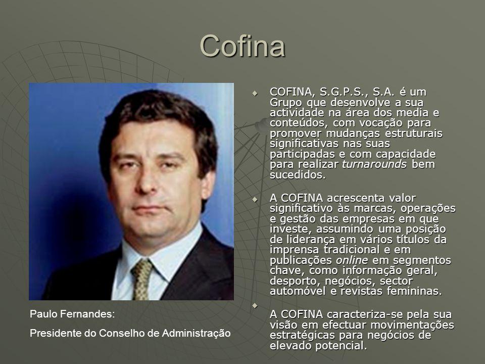 Cofina  História 1990: Empresa criada com o objectivo de agregar algumas participações sociais em empresas industriais por um grupo de investidores liderados por Paulo Fernandes, nomeadamente em empresas com Atlantis, Vista Alegre, F.