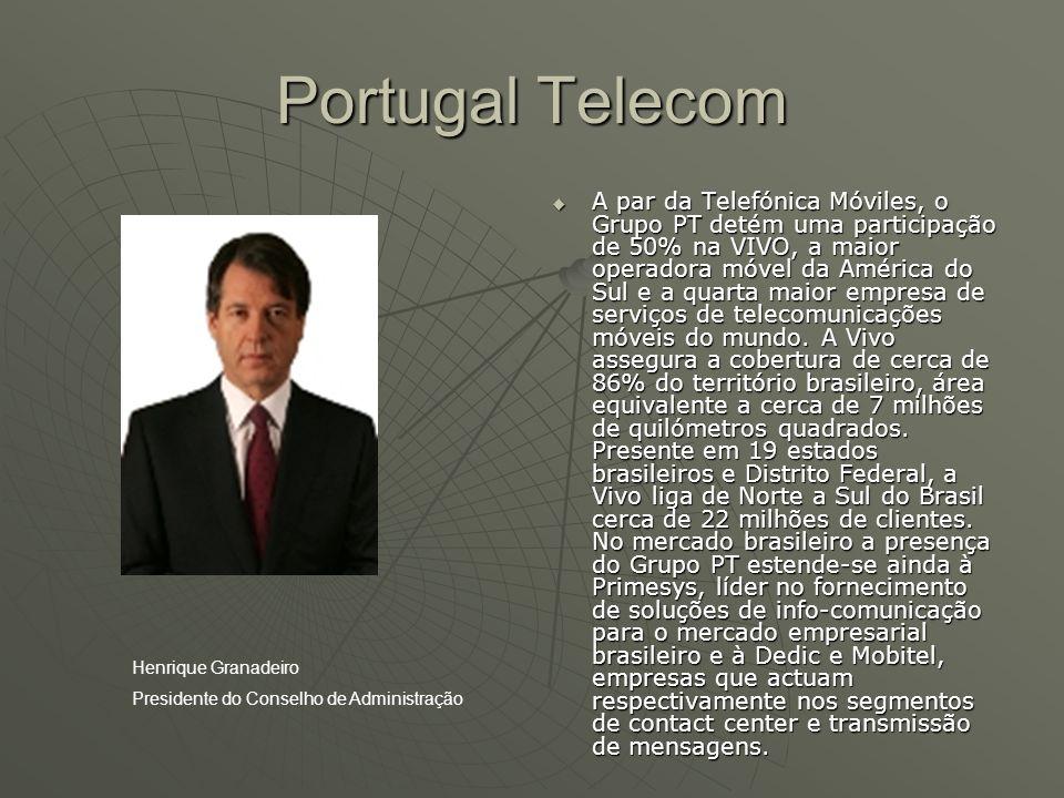 Portugal Telecom  A par da Telefónica Móviles, o Grupo PT detém uma participação de 50% na VIVO, a maior operadora móvel da América do Sul e a quarta