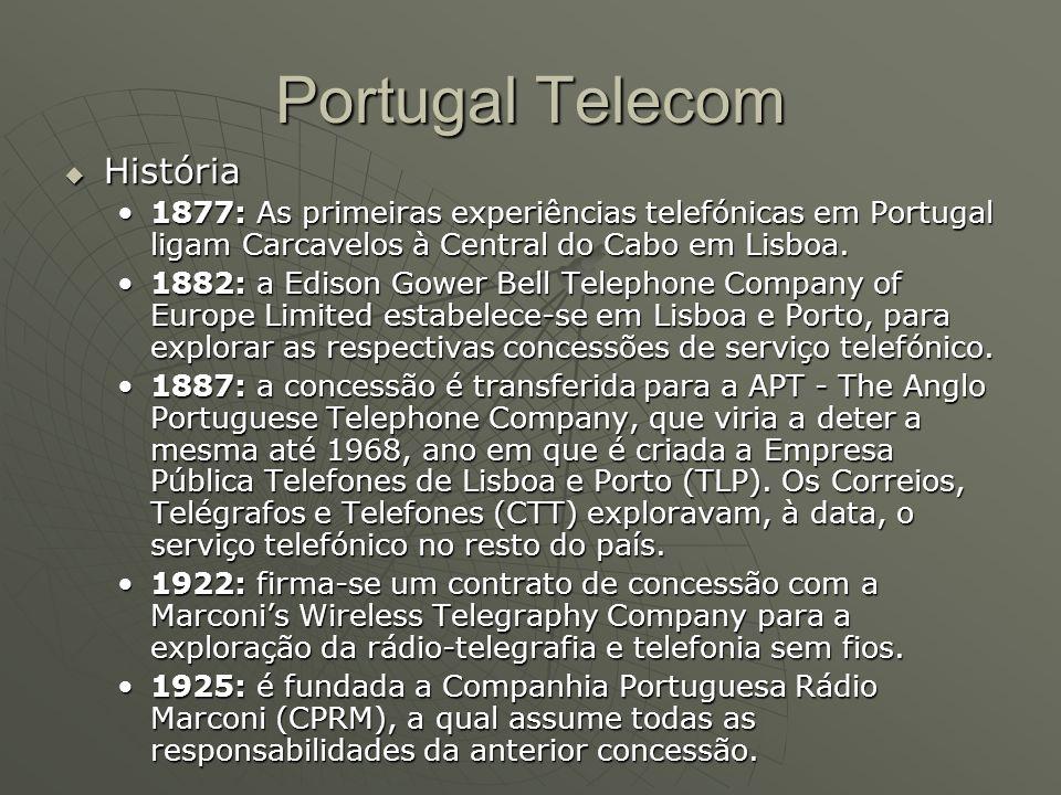 Portugal Telecom  História 1877: As primeiras experiências telefónicas em Portugal ligam Carcavelos à Central do Cabo em Lisboa.1877: As primeiras ex