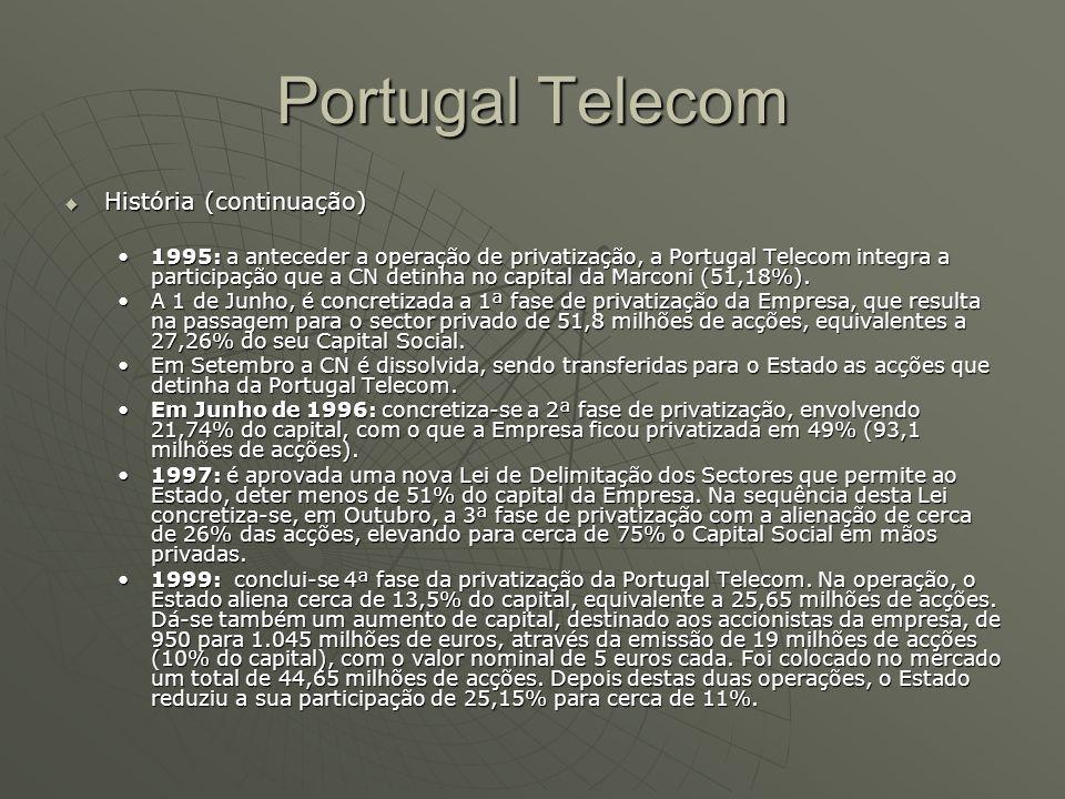 Portugal Telecom  História (continuação) 1995: a anteceder a operação de privatização, a Portugal Telecom integra a participação que a CN detinha no