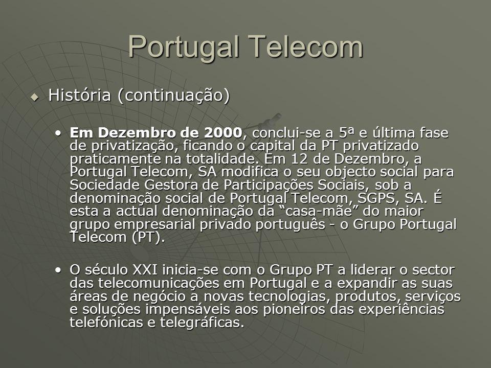 Portugal Telecom  História (continuação) Em Dezembro de 2000, conclui-se a 5ª e última fase de privatização, ficando o capital da PT privatizado prat