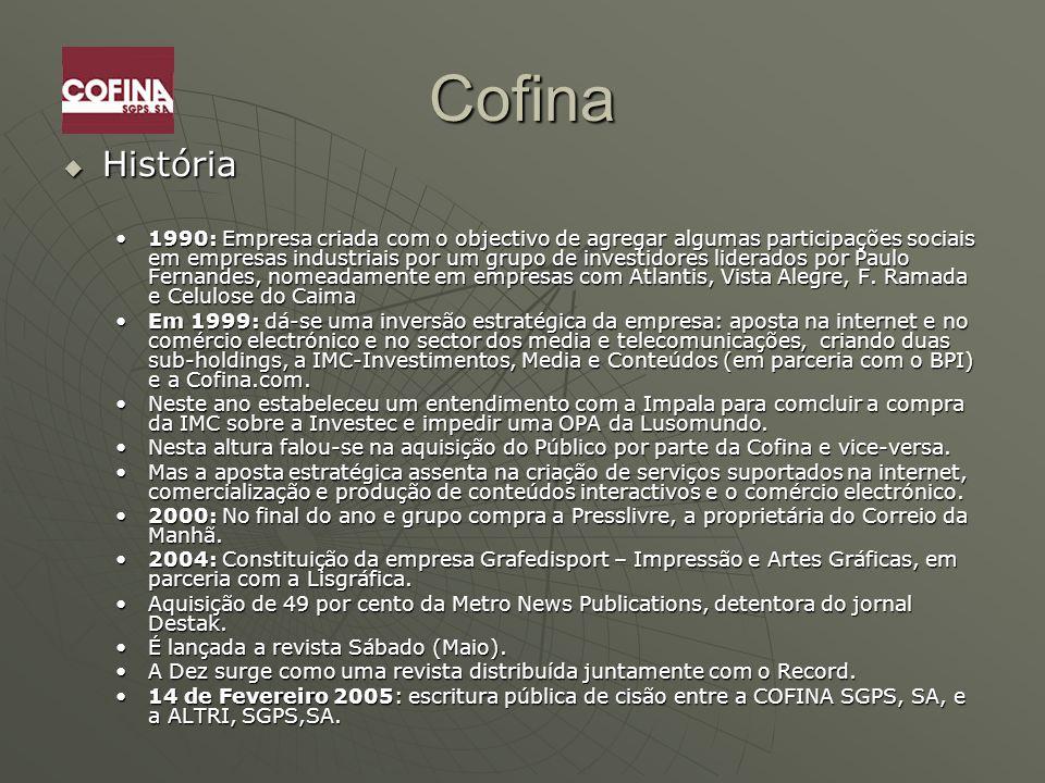 Cofina  História 1990: Empresa criada com o objectivo de agregar algumas participações sociais em empresas industriais por um grupo de investidores l