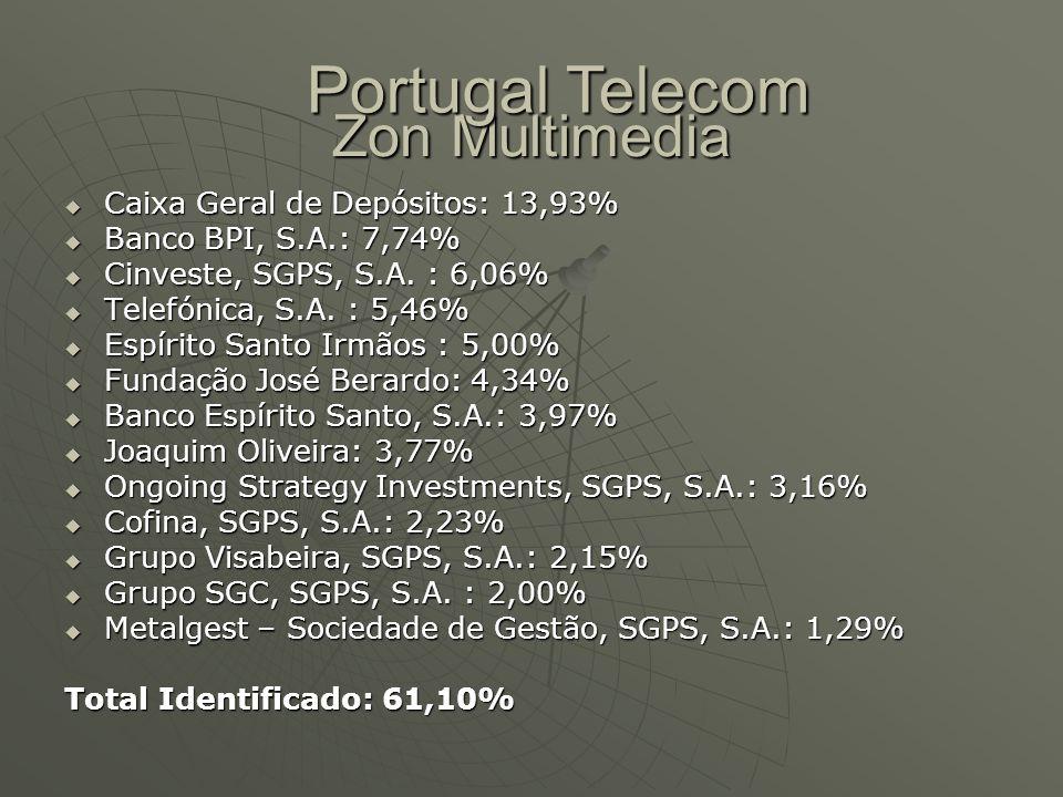 Zon Multimedia  Caixa Geral de Depósitos: 13,93%  Banco BPI, S.A.: 7,74%  Cinveste, SGPS, S.A. : 6,06%  Telefónica, S.A. : 5,46%  Espírito Santo