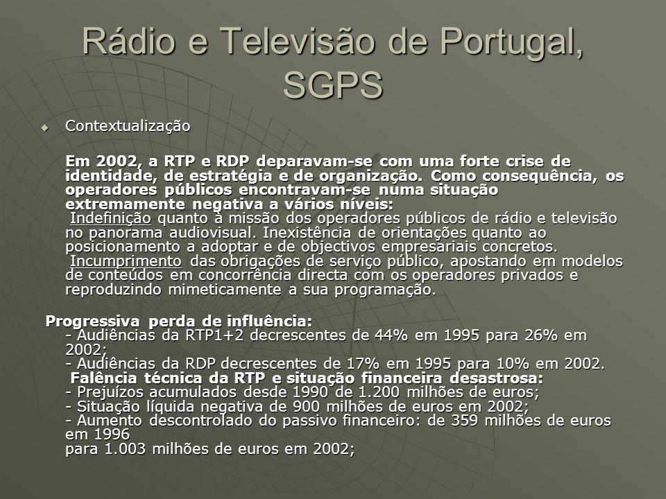  Contextualização Em 2002, a RTP e RDP deparavam-se com uma forte crise de identidade, de estratégia e de organização. Como consequência, os operador