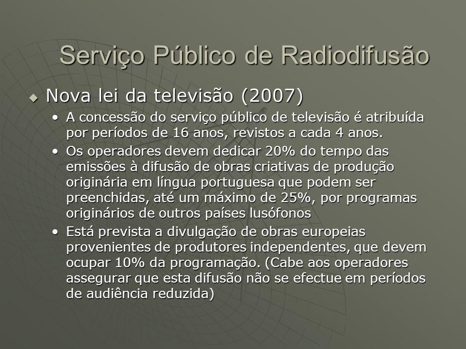  Nova lei da televisão (2007) A concessão do serviço público de televisão é atribuída por períodos de 16 anos, revistos a cada 4 anos.A concessão do