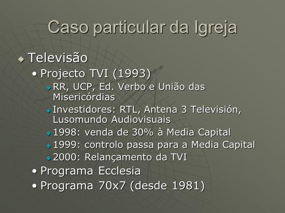 Televisão Projecto TVI (1993)Projecto TVI (1993)  RR, UCP, Ed. Verbo e União das Misericórdias  Investidores: RTL, Antena 3 Televisión, Lusomundo