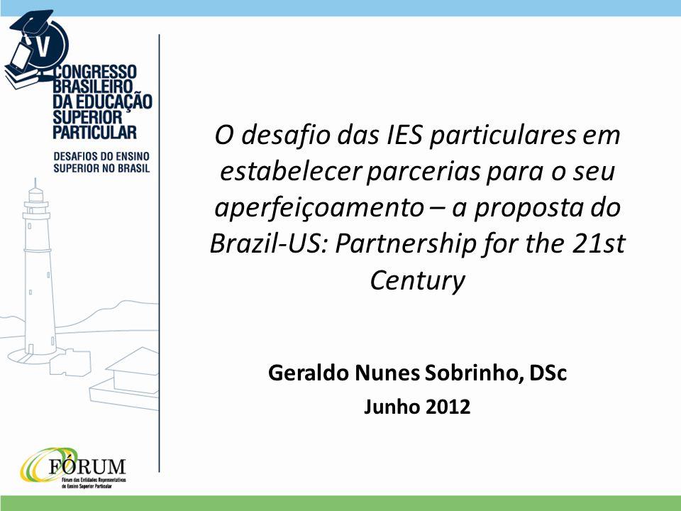 O desafio das IES particulares em estabelecer parcerias para o seu aperfeiçoamento – a proposta do Brazil-US: Partnership for the 21st Century Geraldo Nunes Sobrinho, DSc Junho 2012