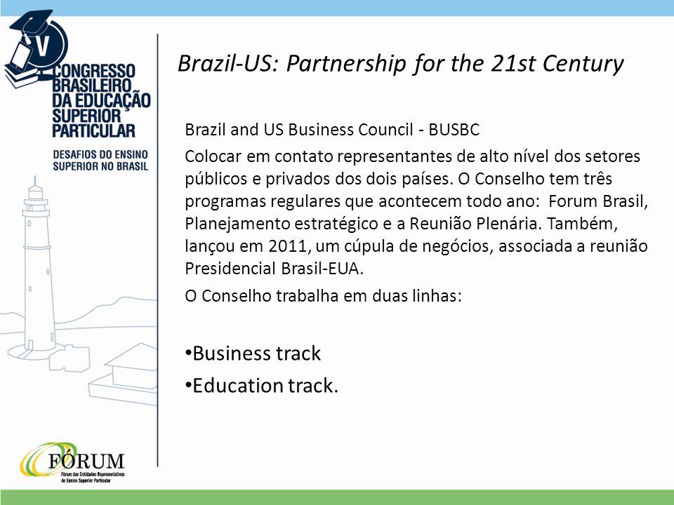 Brazil-US: Partnership for the 21st Century Brazil and US Business Council - BUSBC Colocar em contato representantes de alto nível dos setores públicos e privados dos dois países.