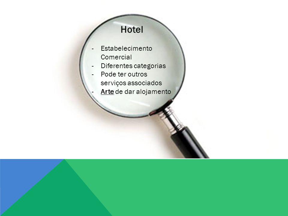 Hotel -Estabelecimento Comercial -Diferentes categorias -Pode ter outros serviços associados -Arte de dar alojamento