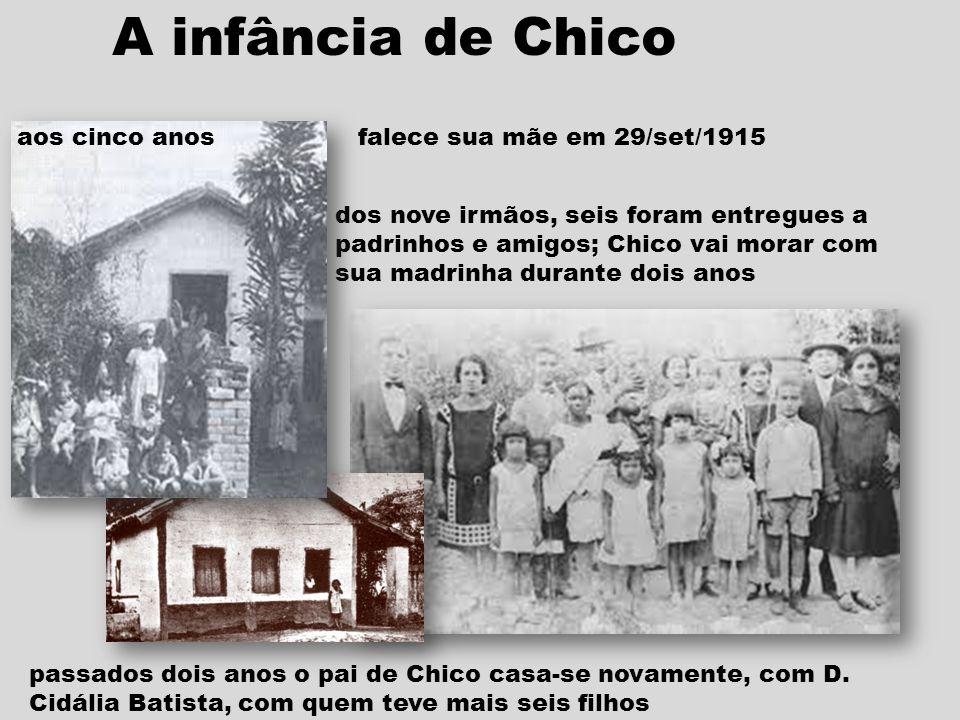 A infância de Chico dos nove irmãos, seis foram entregues a padrinhos e amigos; Chico vai morar com sua madrinha durante dois anos passados dois anos o pai de Chico casa-se novamente, com D.