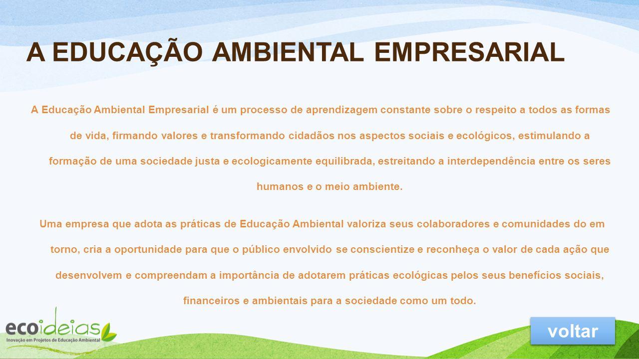 Educação Ambiental A ECOIDEIAS Inovação em Projetos de Educação Ambiental Nossa Visão e Valores Serviços e portfólio Túnel dos sentidos Clientes e Con