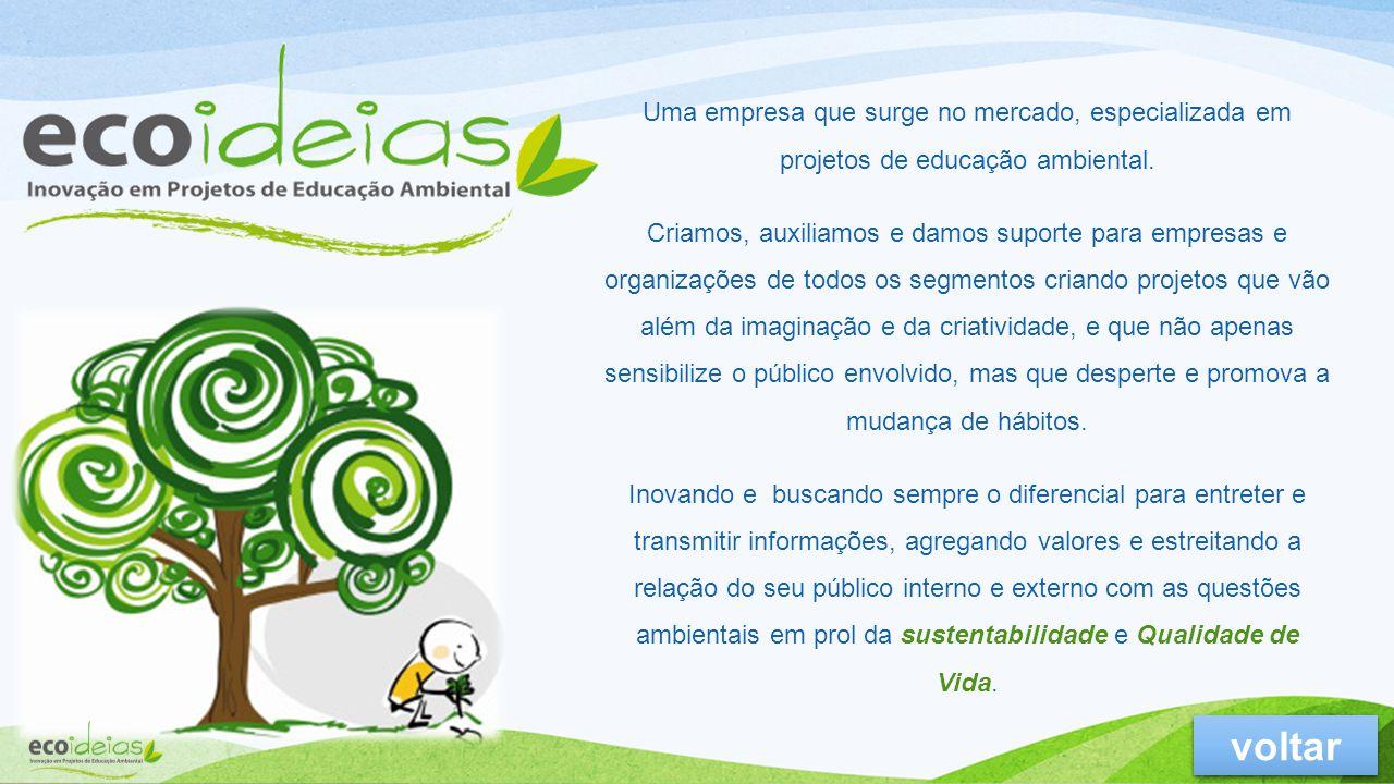 Uma empresa que surge no mercado, especializada em projetos de educação ambiental.