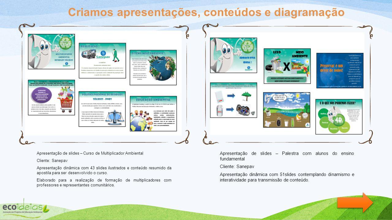 Apresentação de slides – Curso de Multiplicador Ambiental Cliente: Sanepav Apresentação dinâmica com 43 slides ilustrados e conteúdo resumido da apostila para ser desenvolvido o curso.