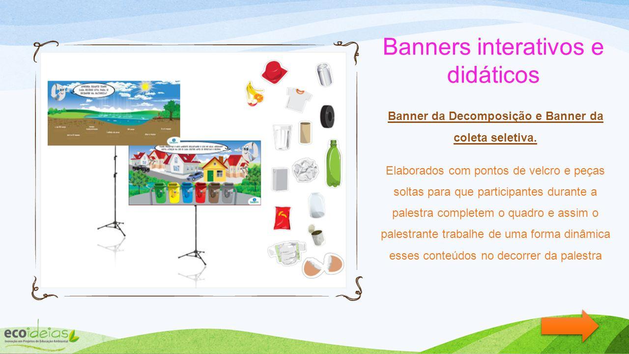 Banners interativos e didáticos Banner da Decomposição e Banner da coleta seletiva.