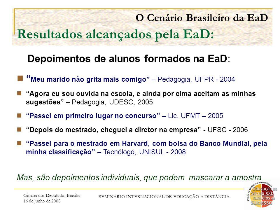 Câmara dos Deputado -Brasília 16 de junho de 2008 SEMINÁRIO INTERNACIONAL DE EDUCAÇÃO A DISTÂNCIA O Cenário Brasileiro da EaD Resultados alcançados pela EaD: Meu marido não grita mais comigo – Pedagogia, UFPR - 2004 Agora eu sou ouvida na escola, e ainda por cima aceitam as minhas sugestões – Pedagogia, UDESC, 2005 Passei em primeiro lugar no concurso – Lic.