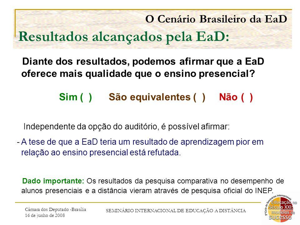 Câmara dos Deputado -Brasília 16 de junho de 2008 SEMINÁRIO INTERNACIONAL DE EDUCAÇÃO A DISTÂNCIA O Cenário Brasileiro da EaD Resultados alcançados pela EaD: Diante dos resultados, podemos afirmar que a EaD oferece mais qualidade que o ensino presencial.