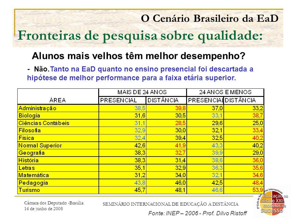Câmara dos Deputado -Brasília 16 de junho de 2008 SEMINÁRIO INTERNACIONAL DE EDUCAÇÃO A DISTÂNCIA O Cenário Brasileiro da EaD Fronteiras de pesquisa sobre qualidade: - Não.Tanto na EaD quanto no ensino presencial foi descartada a hipótese de melhor performance para a faixa etária superior.