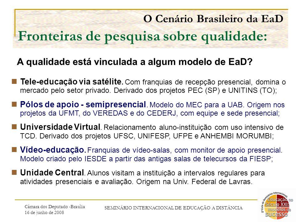 Câmara dos Deputado -Brasília 16 de junho de 2008 SEMINÁRIO INTERNACIONAL DE EDUCAÇÃO A DISTÂNCIA O Cenário Brasileiro da EaD Fronteiras de pesquisa sobre qualidade: A qualidade está vinculada a algum modelo de EaD.