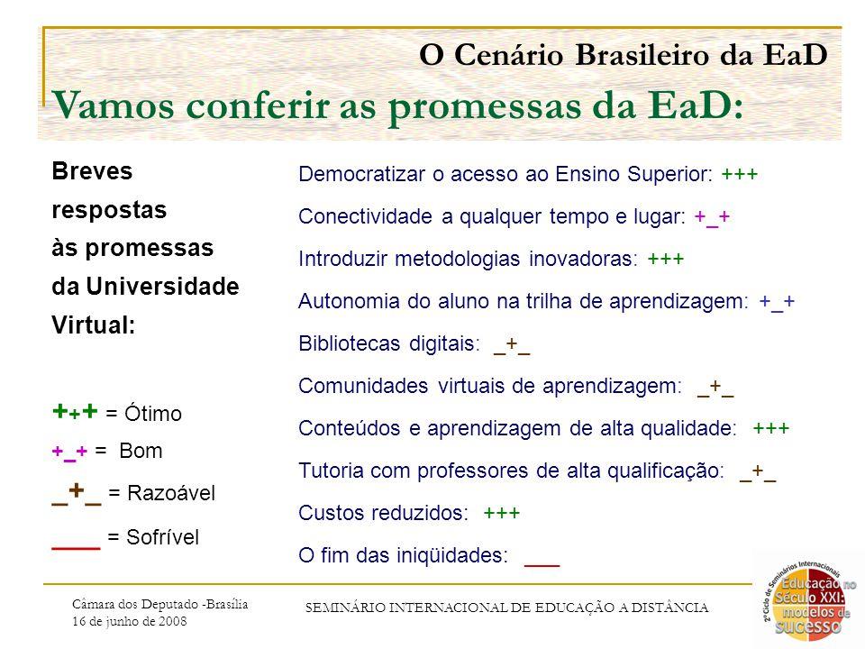 Câmara dos Deputado -Brasília 16 de junho de 2008 SEMINÁRIO INTERNACIONAL DE EDUCAÇÃO A DISTÂNCIA O Cenário Brasileiro da EaD Vamos conferir as promessas da EaD: Breves respostas às promessas da Universidade Virtual: + + + = Ótimo +_+ = Bom _+_ = Razoável ___ = Sofrível Democratizar o acesso ao Ensino Superior: +++ Conectividade a qualquer tempo e lugar: +_+ Introduzir metodologias inovadoras: +++ Autonomia do aluno na trilha de aprendizagem: +_+ Bibliotecas digitais: _+_ Comunidades virtuais de aprendizagem: _+_ Conteúdos e aprendizagem de alta qualidade: +++ Tutoria com professores de alta qualificação: _+_ Custos reduzidos: +++ O fim das iniqüidades: ___