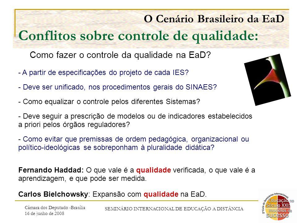 Câmara dos Deputado -Brasília 16 de junho de 2008 SEMINÁRIO INTERNACIONAL DE EDUCAÇÃO A DISTÂNCIA O Cenário Brasileiro da EaD Conflitos sobre controle de qualidade: - A partir de especificações do projeto de cada IES.