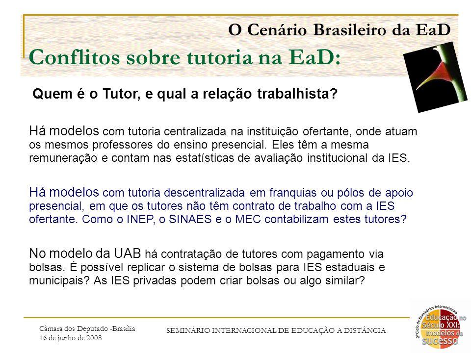 Câmara dos Deputado -Brasília 16 de junho de 2008 SEMINÁRIO INTERNACIONAL DE EDUCAÇÃO A DISTÂNCIA O Cenário Brasileiro da EaD Conflitos sobre tutoria na EaD: Há modelos com tutoria centralizada na instituição ofertante, onde atuam os mesmos professores do ensino presencial.