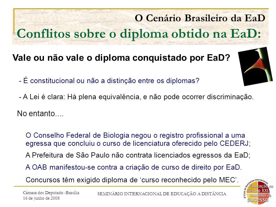 Câmara dos Deputado -Brasília 16 de junho de 2008 SEMINÁRIO INTERNACIONAL DE EDUCAÇÃO A DISTÂNCIA O Cenário Brasileiro da EaD Conflitos sobre o diploma obtido na EaD: O Conselho Federal de Biologia negou o registro profissional a uma egressa que concluiu o curso de licenciatura oferecido pelo CEDERJ; A Prefeitura de São Paulo não contrata licenciados egressos da EaD; A OAB manifestou-se contra a criação de curso de direito por EaD.