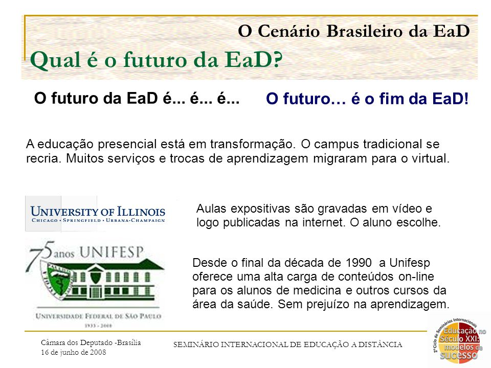 Câmara dos Deputado -Brasília 16 de junho de 2008 SEMINÁRIO INTERNACIONAL DE EDUCAÇÃO A DISTÂNCIA O Cenário Brasileiro da EaD Qual é o futuro da EaD.