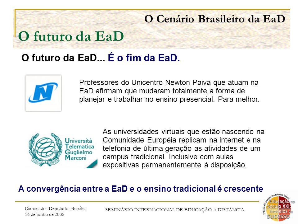 Câmara dos Deputado -Brasília 16 de junho de 2008 SEMINÁRIO INTERNACIONAL DE EDUCAÇÃO A DISTÂNCIA O Cenário Brasileiro da EaD O futuro da EaD O futuro da EaD...
