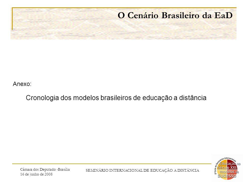 Câmara dos Deputado -Brasília 16 de junho de 2008 SEMINÁRIO INTERNACIONAL DE EDUCAÇÃO A DISTÂNCIA O Cenário Brasileiro da EaD Anexo: Cronologia dos modelos brasileiros de educação a distância