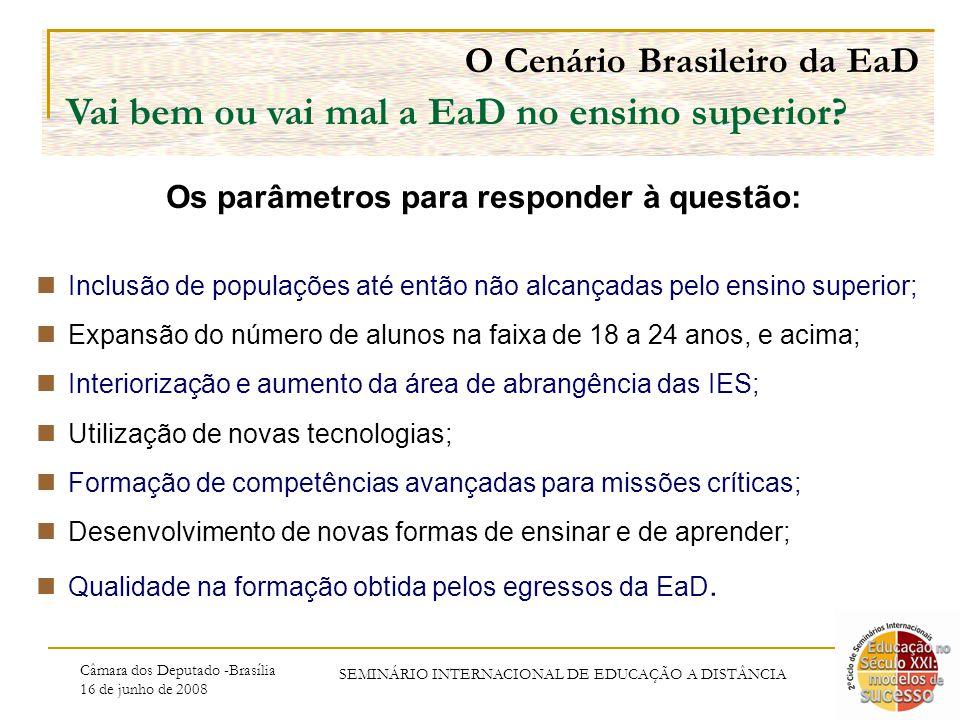 Câmara dos Deputado -Brasília 16 de junho de 2008 Vai bem ou vai mal a EaD no ensino superior.