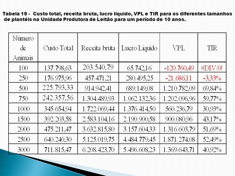 Tabela 19 - Custo total, receita bruta, lucro líquido, VPL e TIR para os diferentes tamanhos de plantéis na Unidade Produtora de Leitão para um períod