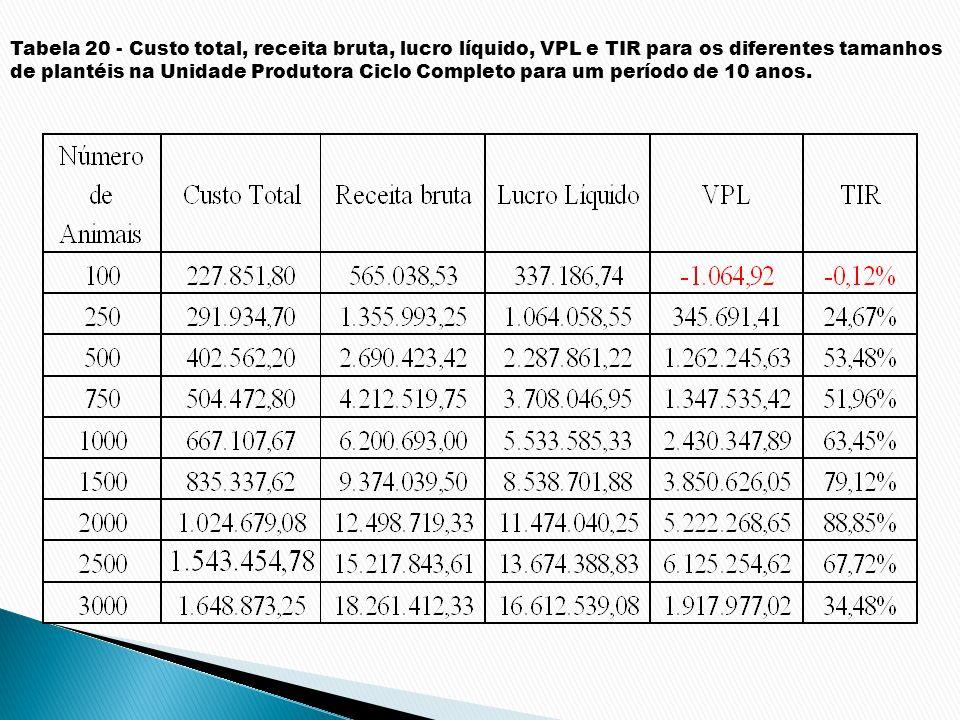 Tabela 20 - Custo total, receita bruta, lucro líquido, VPL e TIR para os diferentes tamanhos de plantéis na Unidade Produtora Ciclo Completo para um p