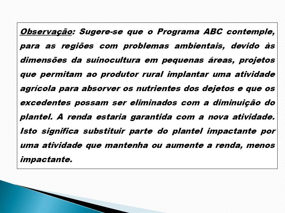 Observação: Sugere-se que o Programa ABC contemple, para as regiões com problemas ambientais, devido às dimensões da suinocultura em pequenas áreas, p