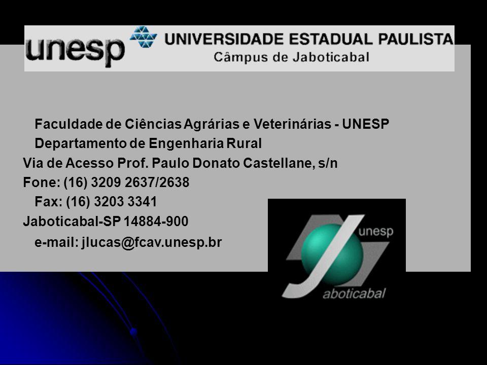 Faculdade de Ciências Agrárias e Veterinárias - UNESP Departamento de Engenharia Rural Via de Acesso Prof. Paulo Donato Castellane, s/n Fone: (16) 320