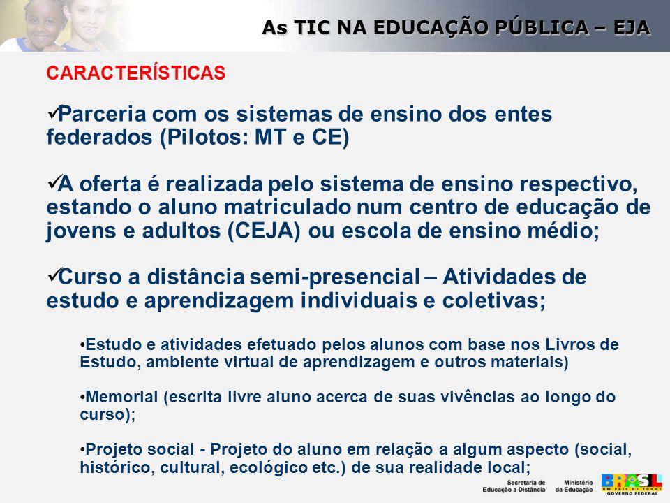 CARACTERÍSTICAS Parceria com os sistemas de ensino dos entes federados (Pilotos: MT e CE) A oferta é realizada pelo sistema de ensino respectivo, esta