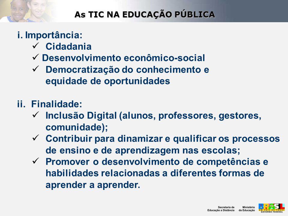 i. Importância: Cidadania Desenvolvimento econômico-social Democratização do conhecimento e equidade de oportunidades ii.Finalidade: Inclusão Digital